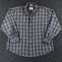 Vintage VAN HEUSEN Brushed Cotton Flannel Button Up Shirt Men's 2XL Plaid