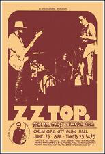 Z Z Top Freddie King 1972 Oklahoma City Concert Poster