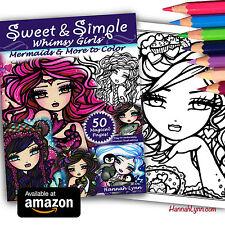NEW Sweet & Simple Whimsy Girls Cute Adult Coloring Book Mermaid Hannah Lynn Art
