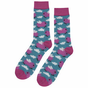 NWT Flying Pig Dress Socks Novelty Men 8-12 Blue and Pink Fun Sockfly