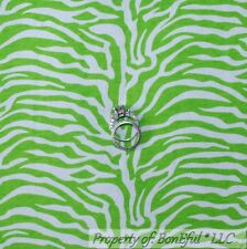 BonEful FABRIC FQ Cotton Jersey KNIT Green White S Zebra Wild Girl Pattern Print