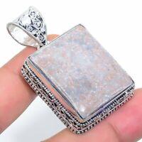 "Fossil'Coral Handmade Ethnic 925 Silver Jewelry Pendant 1.97"" VJ-7730"