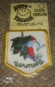 VERMONT STATE Skiing Happy Traveler Travel Patch Emblem Vintage BRAND NEW SEALED