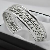 Solid 925 Sterling Silver Mexican Heavy & Wide Vintage Rope Design Cuff Bracelet
