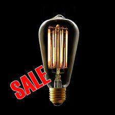 Carbon Filament Eco LED Edison Squirrel Cage PEAR Shape Teardrop Bulb Lamp Globe