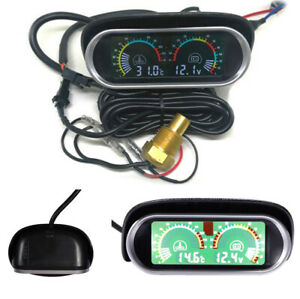 Horizontal 2 in 1 LCD Digital Display Car Water Temperature Gauge and Voltmeter
