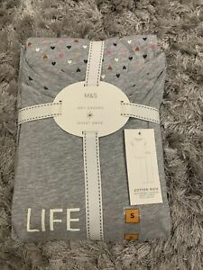 M&S Grey Mix Ladies Day Dreams, Duvet Days Size S Cotton Rich Pyjamas Sameday Pp