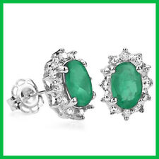 GENUINE .93 CT NATURAL EMERALD & DIAMOND OVAL STUD EARRINGS 925 STERLING SILVER