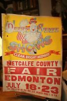 "Vintage Poster 22""x 28"" Derby State Shows Metcalfe County Fair Edmonton KY"
