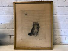 "Antique Meta Pluckebaum ""Bzzzz"" Framed Etching of Kitten and a Bee Signed"