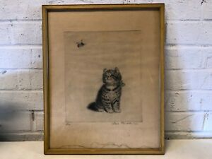 """Antique Meta Pluckebaum """"Bzzzz"""" Framed Etching of Kitten and a Bee Signed"""
