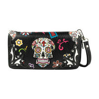 Western Wristlet Wallet Leather Skull Purse Clutch for Women Black Wallet Women