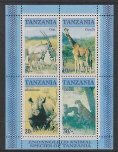 Tanzania - 1986, Endangered Animals sheet - MNH - SG MS483