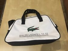 LACOSTE Canvas Duffle Bag, Sports Bag, Travel, Gym, Carry On, Big Croc WHITE New