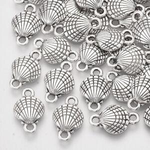 10 Seashell Charms Connectors Antiqued Silver Pendants Nautical Ocean Clam
