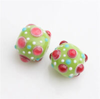 10pcs handmade Lampwork glass  Beads green pink dot round  14mm