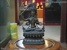 """9""""Tibet Folk Classical 100% Purple Bronze Manjusri Kwan-Yin Buddha Statue"""