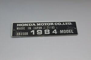 HONDA XR350R CR80R XR80R XR250 Z50R CR60R TAG FRAME VIN ALU PLATE not decal