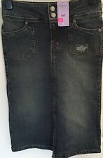 New with Tags MOTO - TOP SHOP SIZE 8 Tall BLUE DENIM knee length SKIRT - stretch
