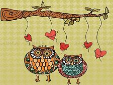 OWL LOVE ILLUSTRATION BIRD VALENTINE PHOTO ART PRINT POSTER PICTURE BMP1599A