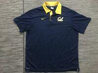 Nike UC Berkeley Cal Polyester Polo Shirt Men's XL Short Sleeve Blue Top