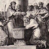 Gravure XVIIIe Baptême Witikin Widukind Wittekind Charlemagne Guerre Saxons 785