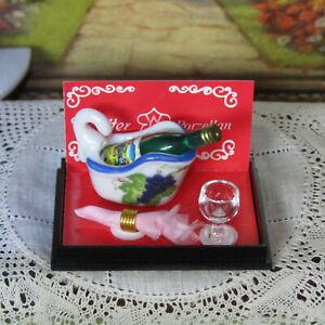Vtg Dollhouse REUTTER WINE BOTTLE COOLER & Glass Porcelain Grapes Dish Dishes