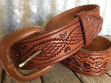 VINTAGE Whisky TOOLED LEATHER BELT Boho MADE IN MEXICO 32""