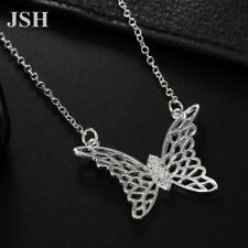 925 Silver wedding Charms Necklace Jewelry butterfly Fashion crystal women gift