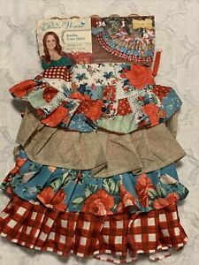"""Pioneer Woman Christmas Ruffle Tree Skirt 48"""" NWT Floral Patchwork"""