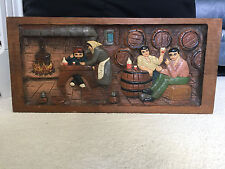 Wooden Painted Tavern Scene with 3D effect