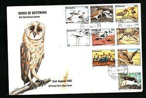 Botswana FDC 1982 Defs Birds, 15t-2p vals SG 524/32 cv £65.00