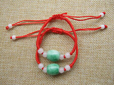 Feng Shui Chinese Oriental Oval Deep Green Jade Beads Red String Bracelet