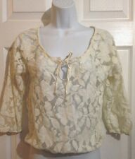 AMERICAN EAGLE Creamy Ivory Lace Boho Peasant Top Shirt XS XSMALL Casual Wear