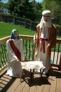 Super Rare Vintage Gemmy Christmas Nativity Manger Scene Joseph Mary Jesus Set