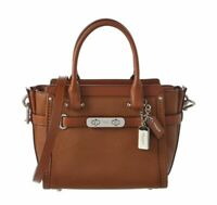 COACH SWAGGER 21 CARRYALL IN PEBBLE LEATHER SATCHEL, CROSSBODY - Saddle Brown