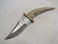 Vintage Hand Made Damascus Steel Blade Horn Handle Knife Dagger