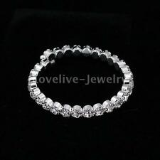 Silver Rhinestone Crystal Bangle Cuff Diamante Wedding Party Bridal Bracelet