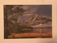 Vintage Mt Moran Grand Teton National Park WY Poster Print 24 X 18