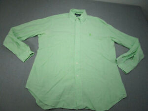 Ralph Lauren Polo Button Up Shirt Adult Large Green Check Pony Cotton Casual Men