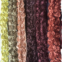 1YD Lace Trim With 3D Chiffon Rose Flower Sewing Craft Fabric Wedding Party