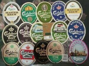 Denmark, Danmark nice lot of all different Carlsberg Beer Labels XII