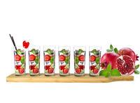 6 Schnapsgläser mit Holzbrett Verkostungsset Tequilagläser Wodkagläser Stamper