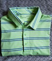 EUC Under Armour HeatGear Golf Polo Shirt Green Blue Striped Men's Large L