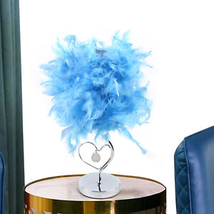 Feather Lampshade Table Lamp Bedside LED Desk Night Light Bedroom Decor Blue New