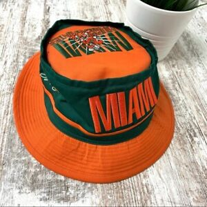 University of MIAMI HURRICANES Orange & Green Embroidered Bucket Sun Hat EUC