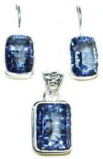 Blue Mystic Fire Quartz Sterling Silver SET Pendant + Earrings 925 Jewellery NEW