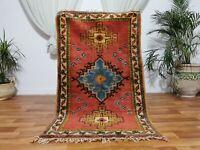 "Moroccan Vintage Handmade rug Bohemian Berber Rug 3'2x5'4"" Taznakht Tribe Carpet"