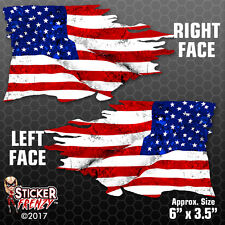USA TATTERED Flag Sticker 2 Pack MIRRORED American Bumper Vinyl Decal #FS2013