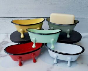Old Fashioned Bathtub Shaped Enamel Soap Dish Choose from 5 Colors